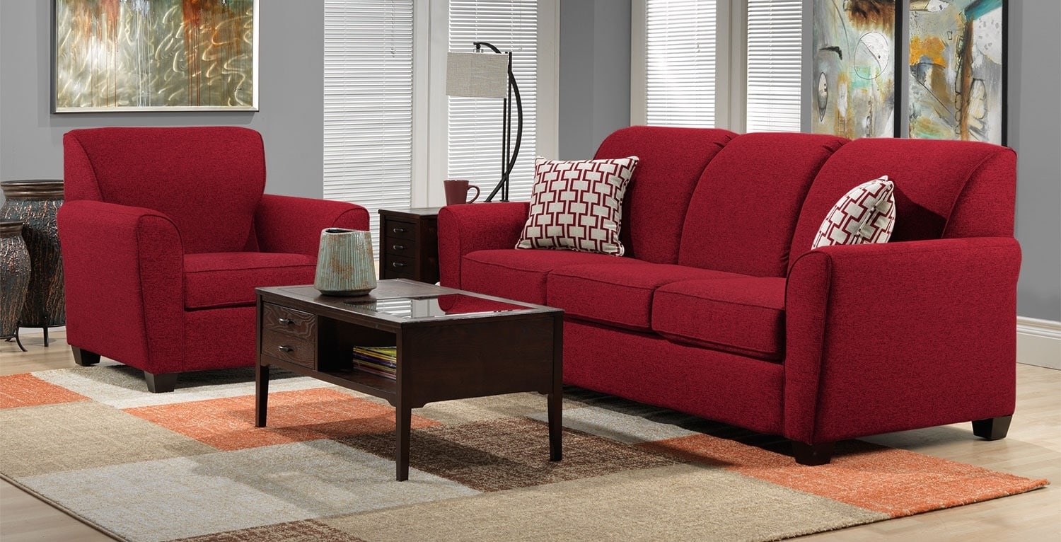 Ashby 2 Pc. Living Room w/ Chair - Red