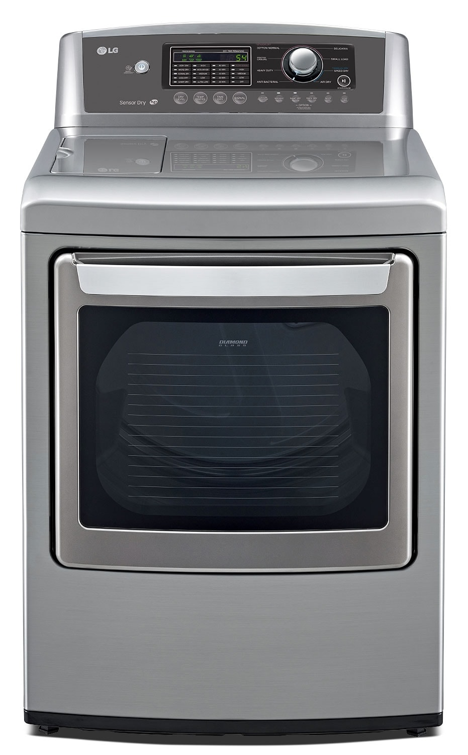 Washers and Dryers - LG 7.3 Cu. Ft. Electric Dryer with Sensor Dry and SmartDiagnosis™ - Graphite Steel