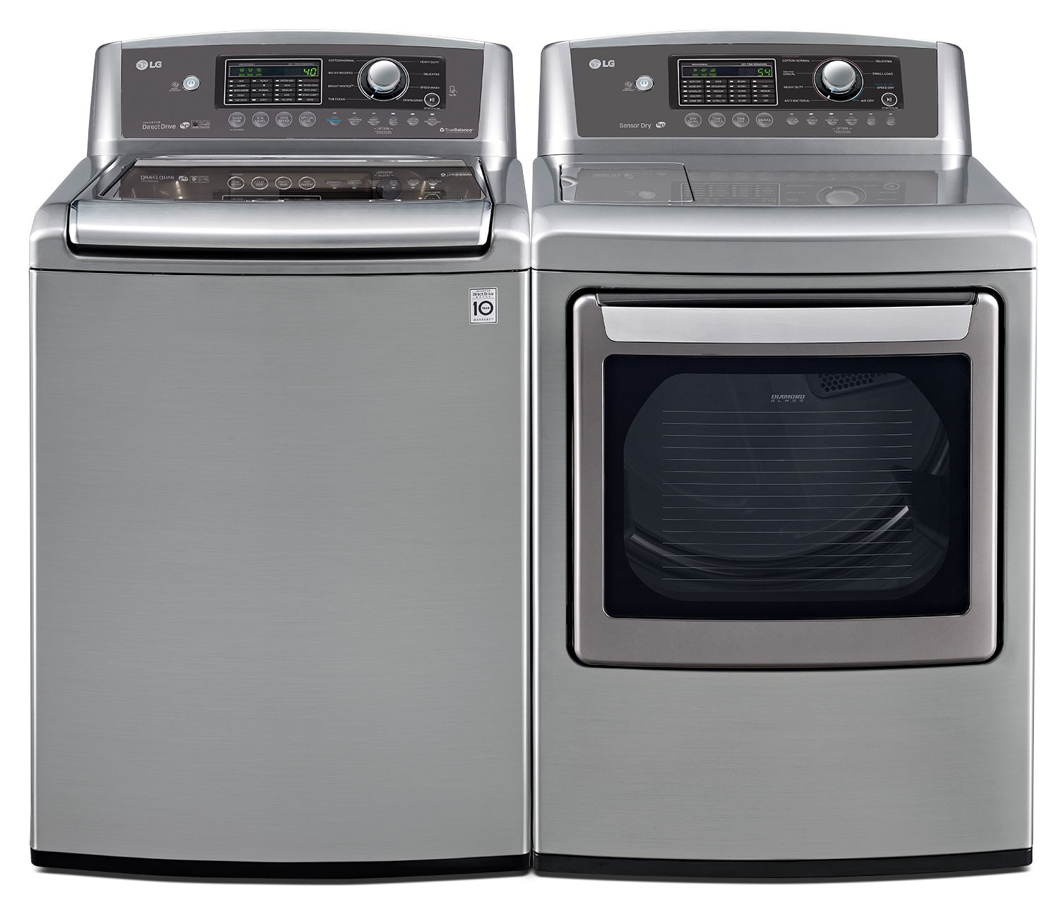 LG 5.6 Cu. Ft. High-Efficiency Top-Load Washer and 7.3 Cu. Ft. Electric Dryer - Graphite Steel