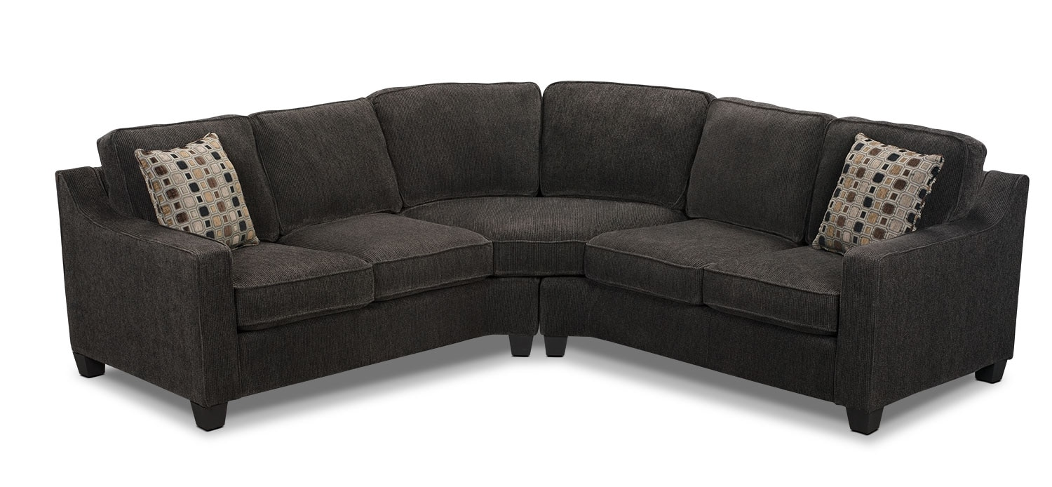 Pierce Chenille 2 Piece Left Facing Sectional Dark Grey The Brick