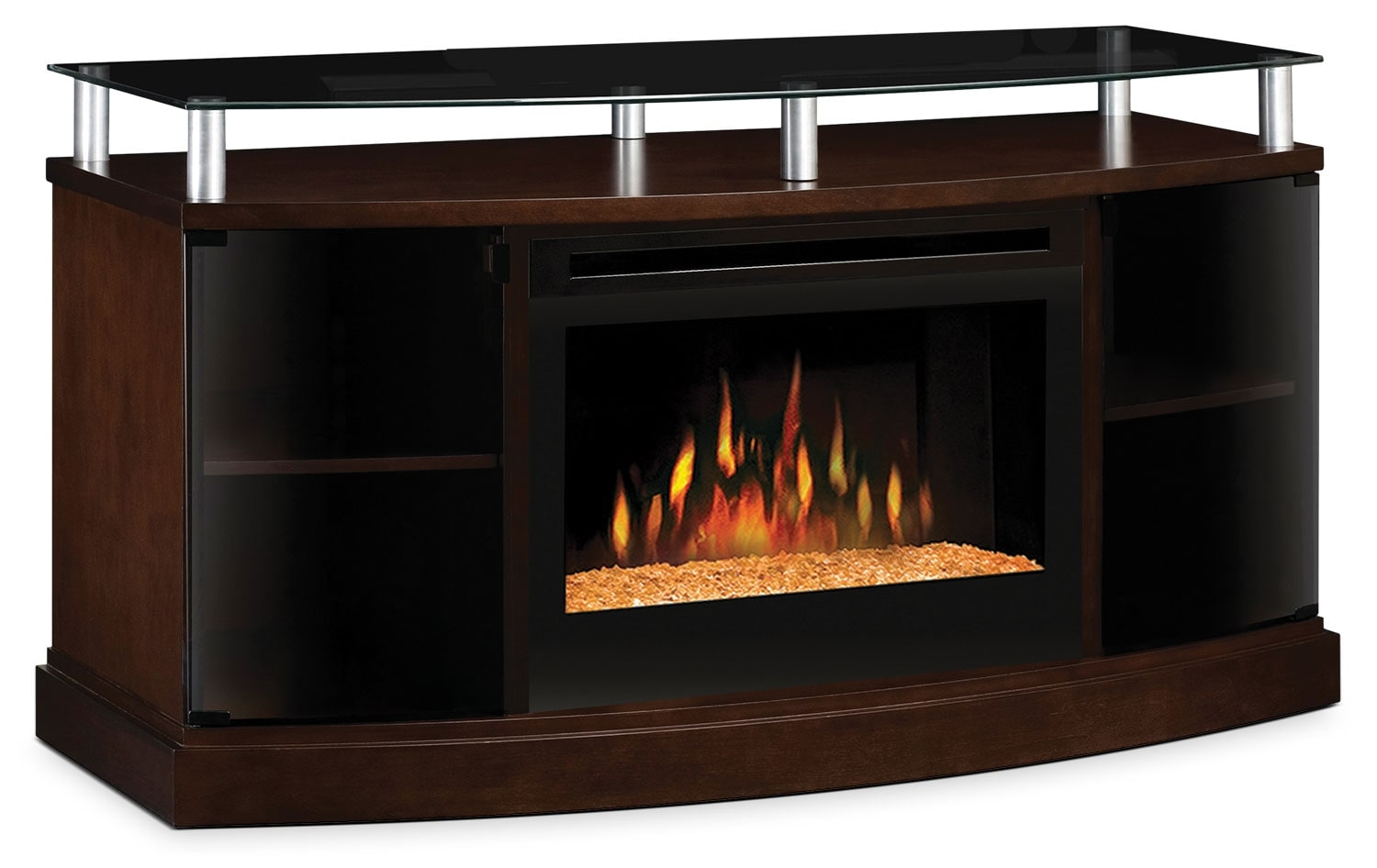 "Entertainment Furniture - Windham 53"" TV Stand with Glass Ember Firebox"