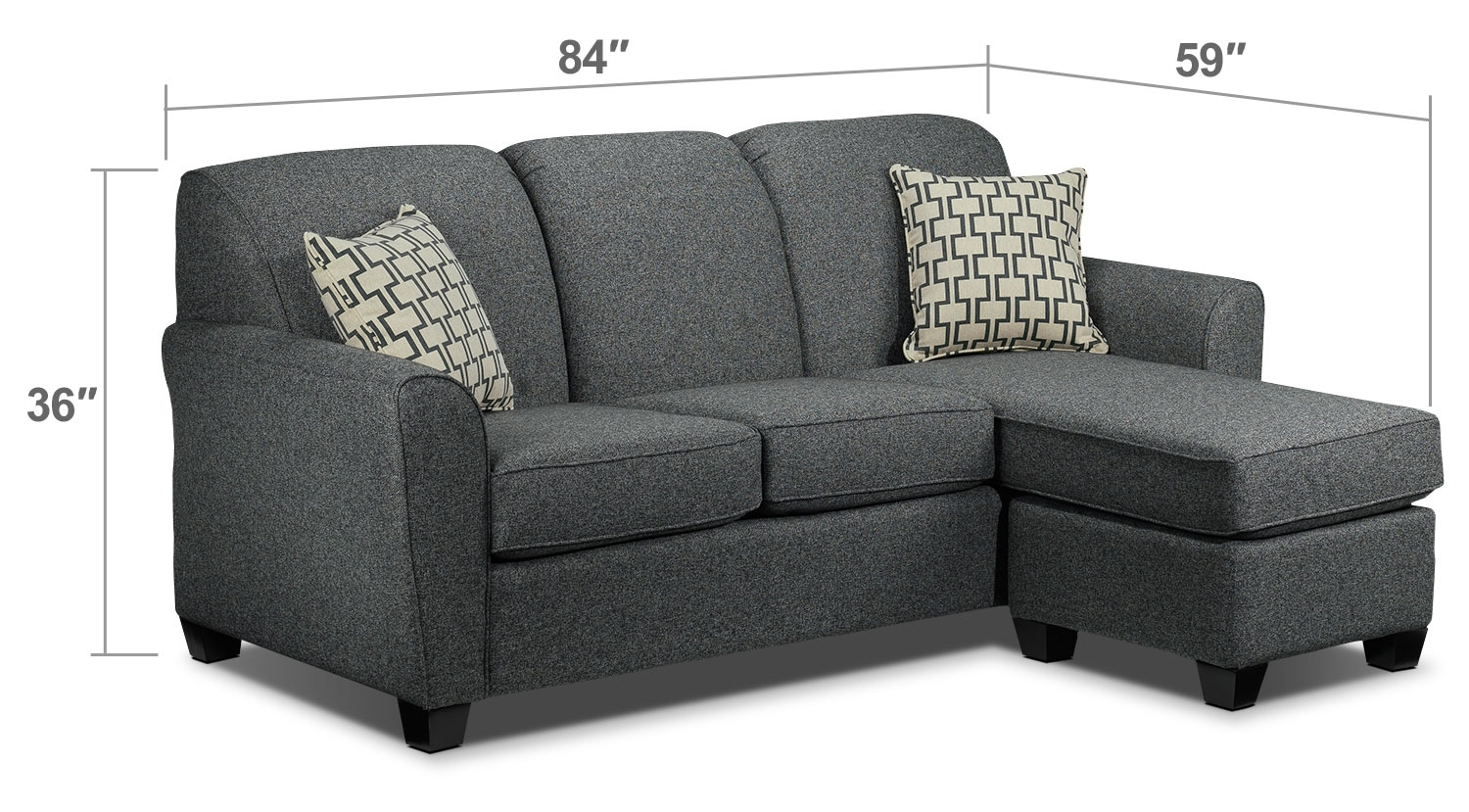 Living Room Furniture - Ashby Chaise Sofa - Grey