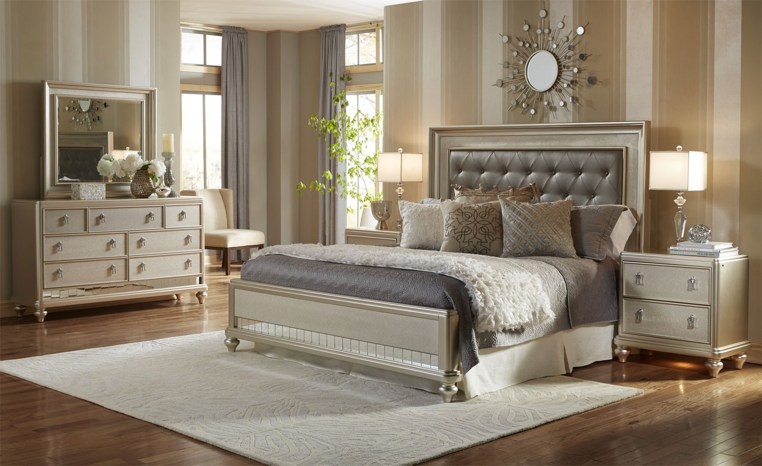 Bedroom Furniture - Diva 6-Piece Queen Bedroom Package