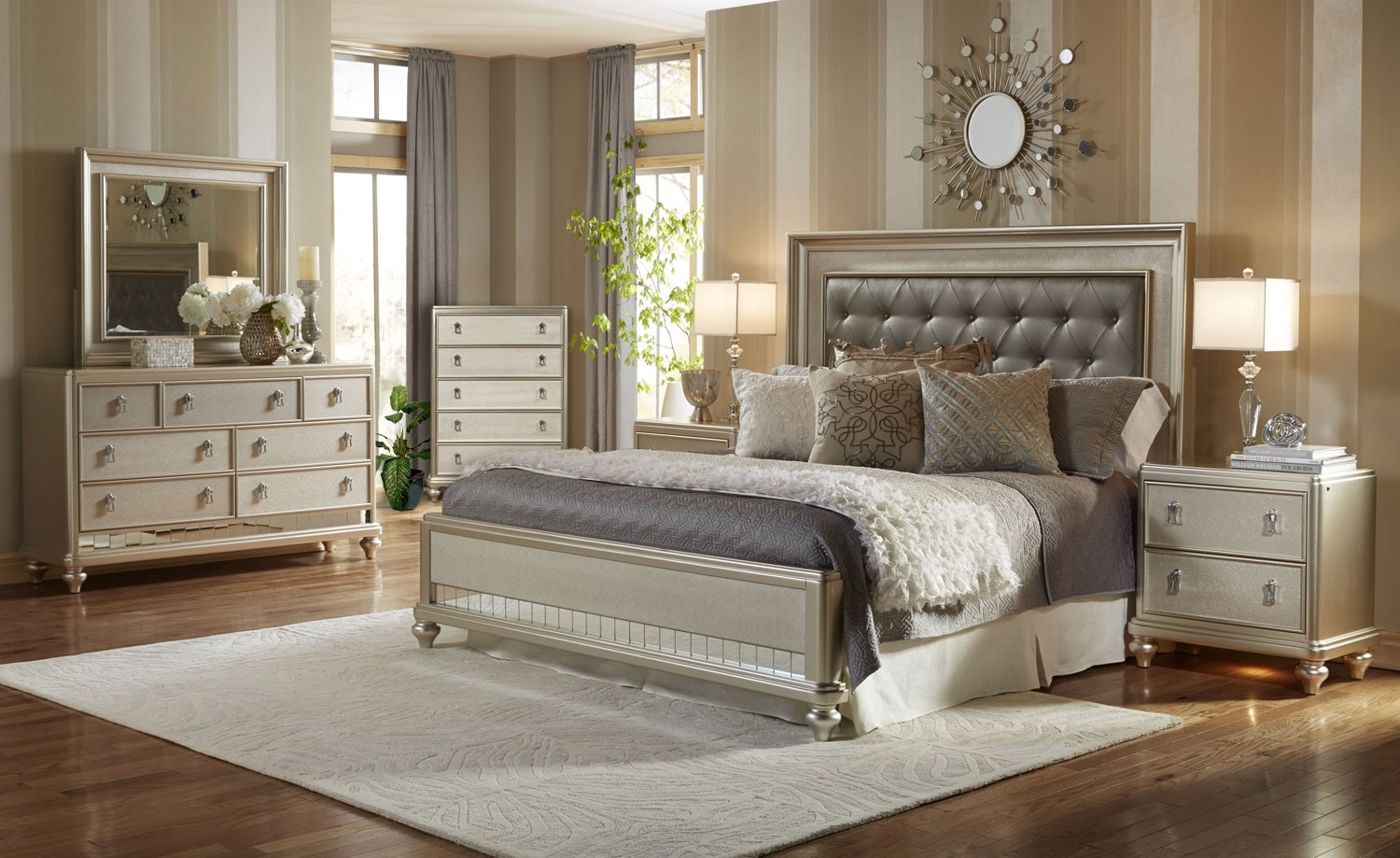 Bedroom Furniture - Diva 8-Piece King Bedroom Package
