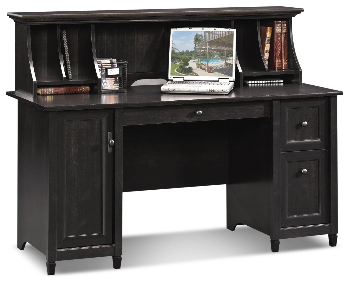 Edge Water Computer Desk With Hutch Estate Black The Brick