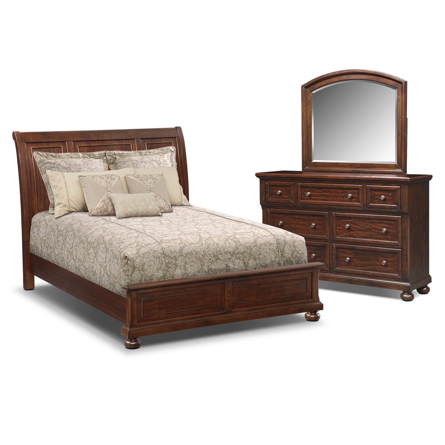 The hanover panel bedroom collection cherry american signature furniture American home furniture bedroom sets