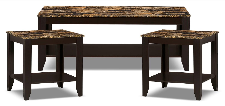 Décoratif et Occasionnel - Ensemble table à café et deux tables de bout Roma 3 pièces - cappuccino