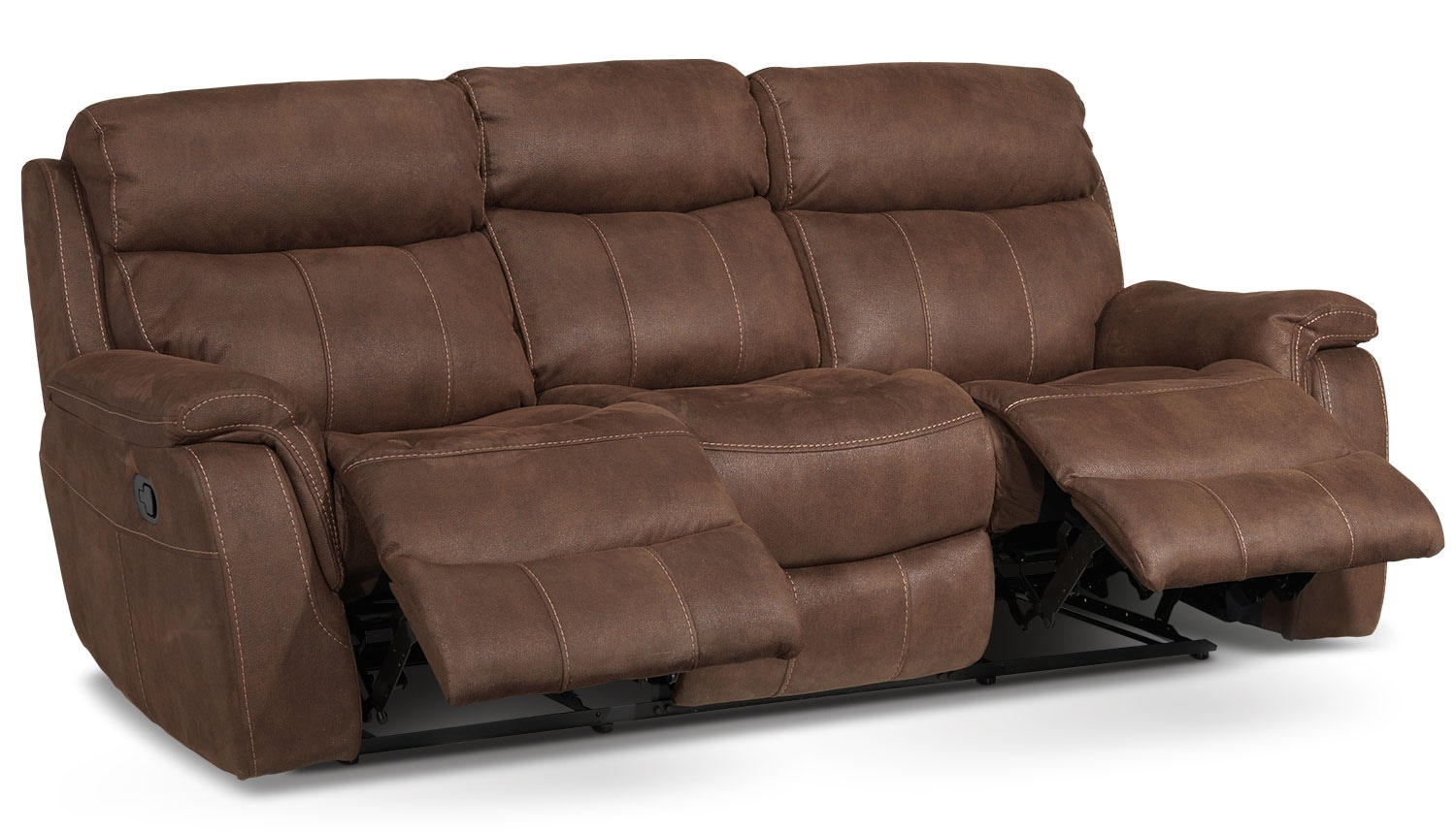 Morrow reclining sofa saddle brown leon 39 s for Best furniture