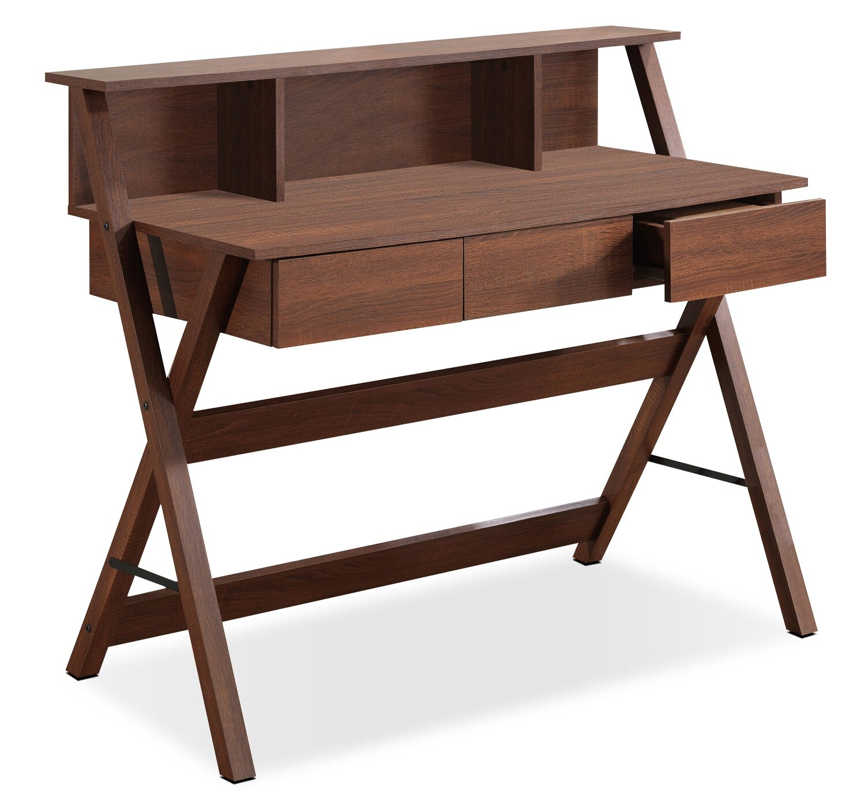"Cadiz 43"" Desk with Hutch - Warm Oak"