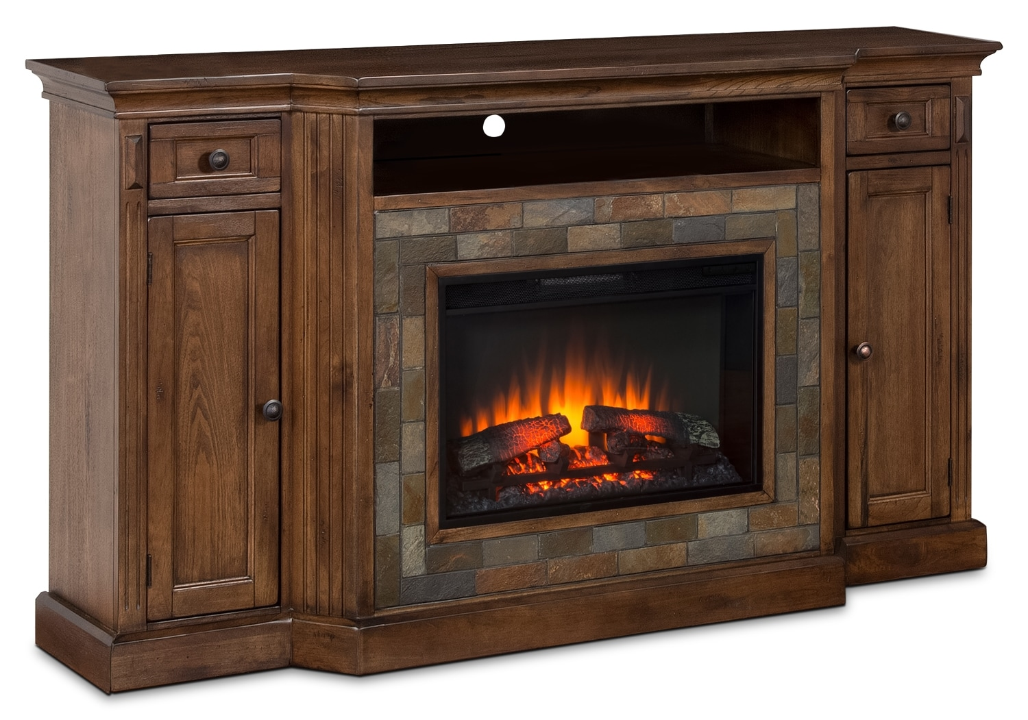 "Entertainment Furniture - Cambridge 72"" TV Stand with Log Firebox"