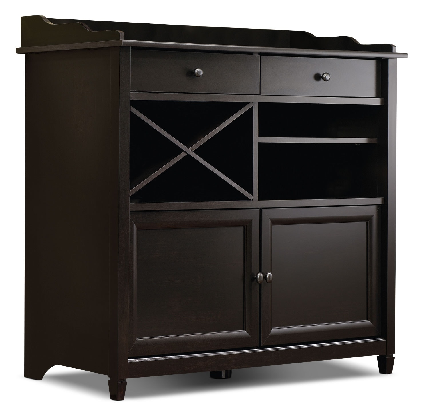 Edge Water Accent Cabinet with Wine Storage – Estate Black