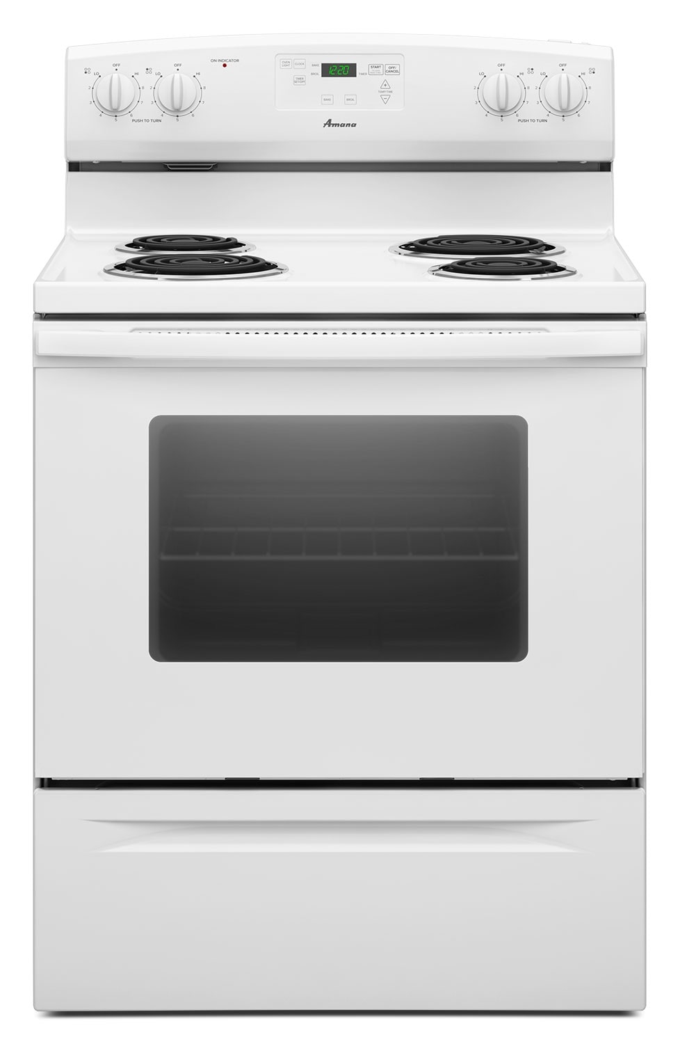Cooking Products - Amana White Freestanding Electric Range - YACR4330BCW