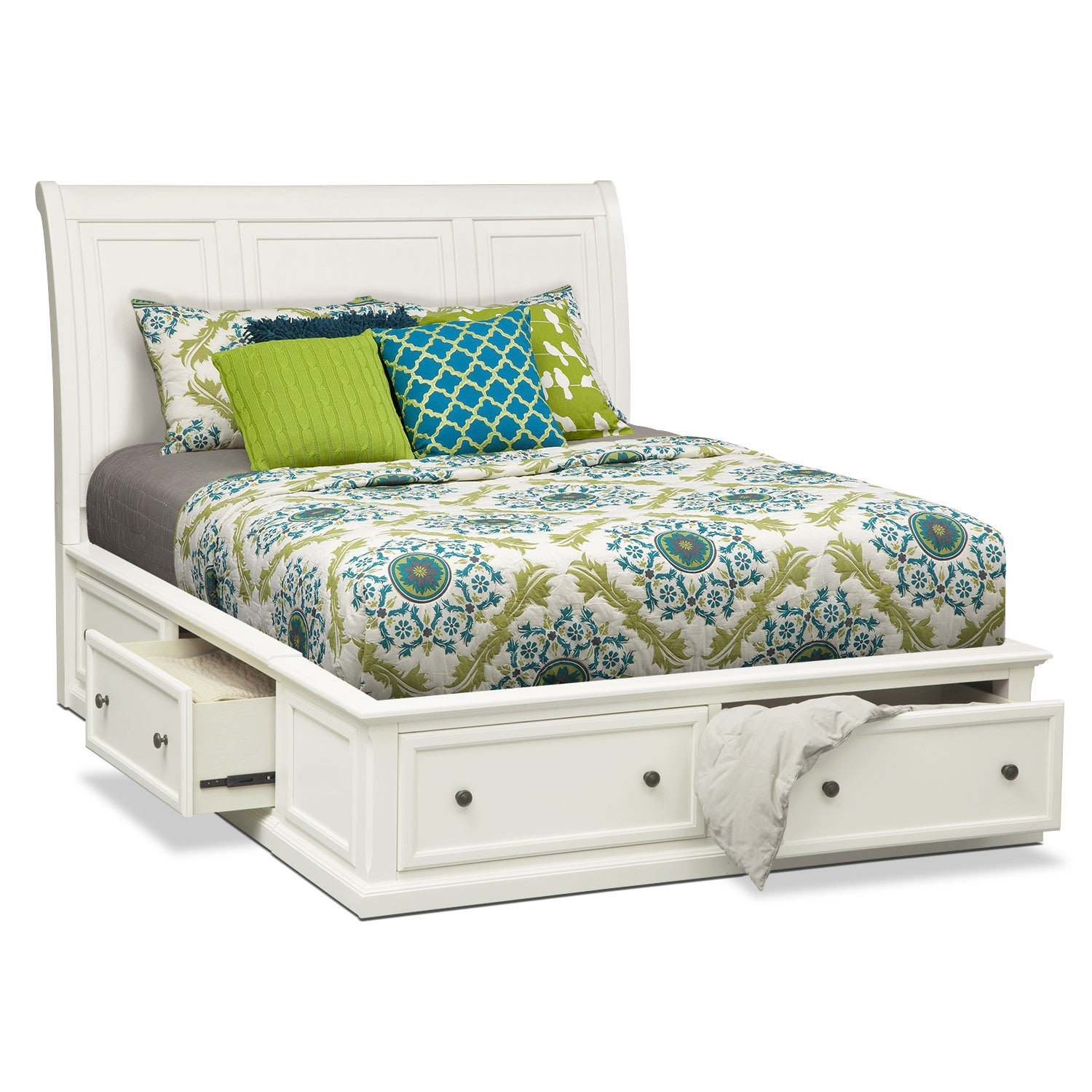 Hanover king storage bed white value city furniture for Bedroom furniture beds