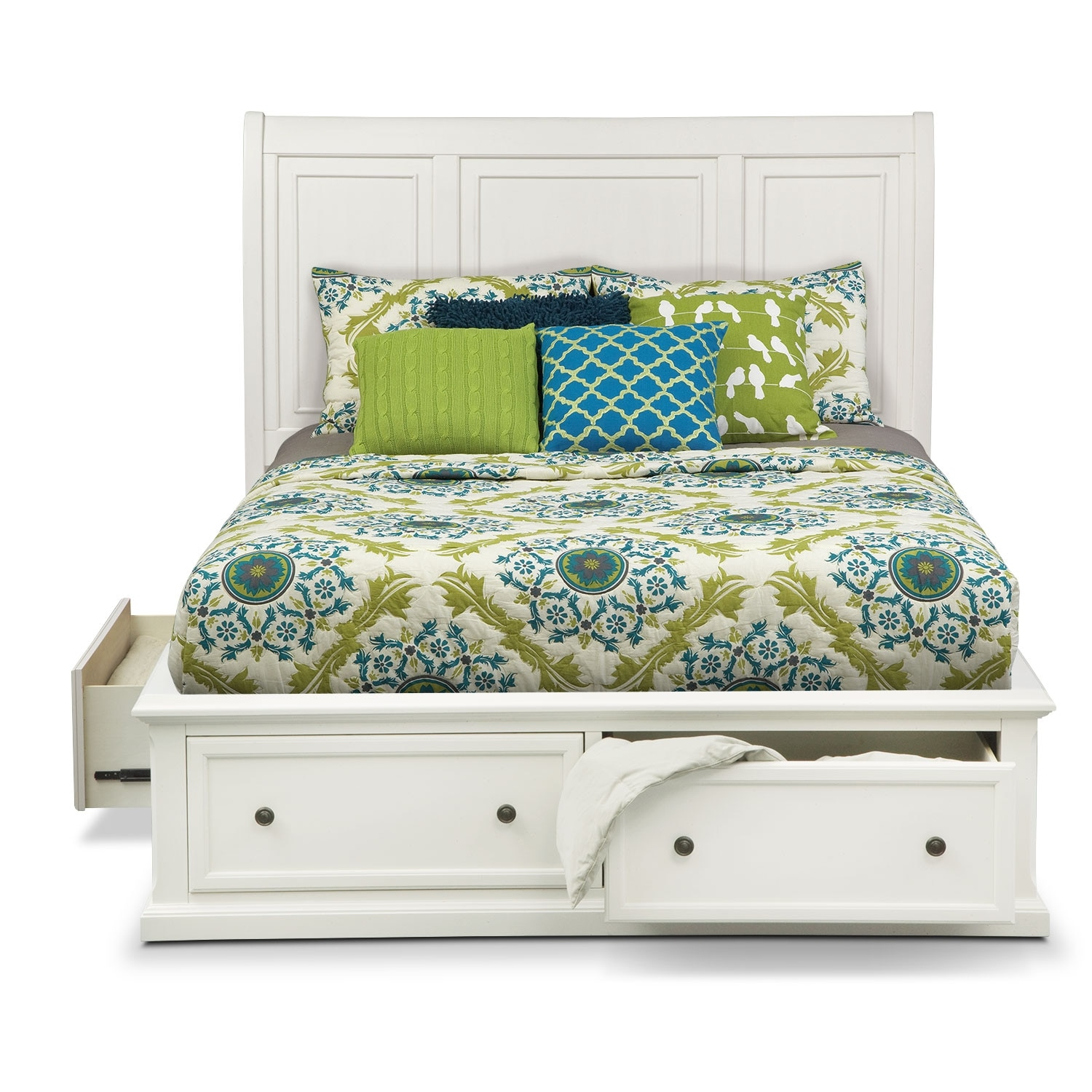 Hanover queen storage bed white value city furniture for Bedroom set and mattress