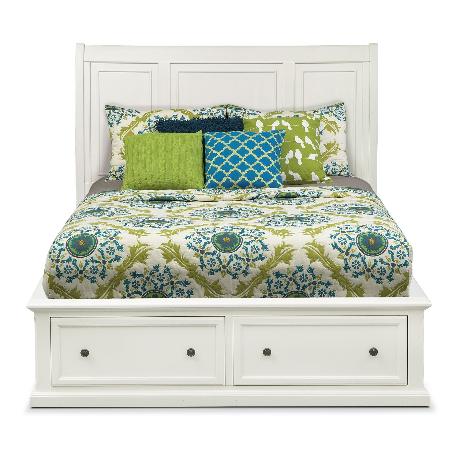 Hanover Queen Storage Bed White American Signature Furniture