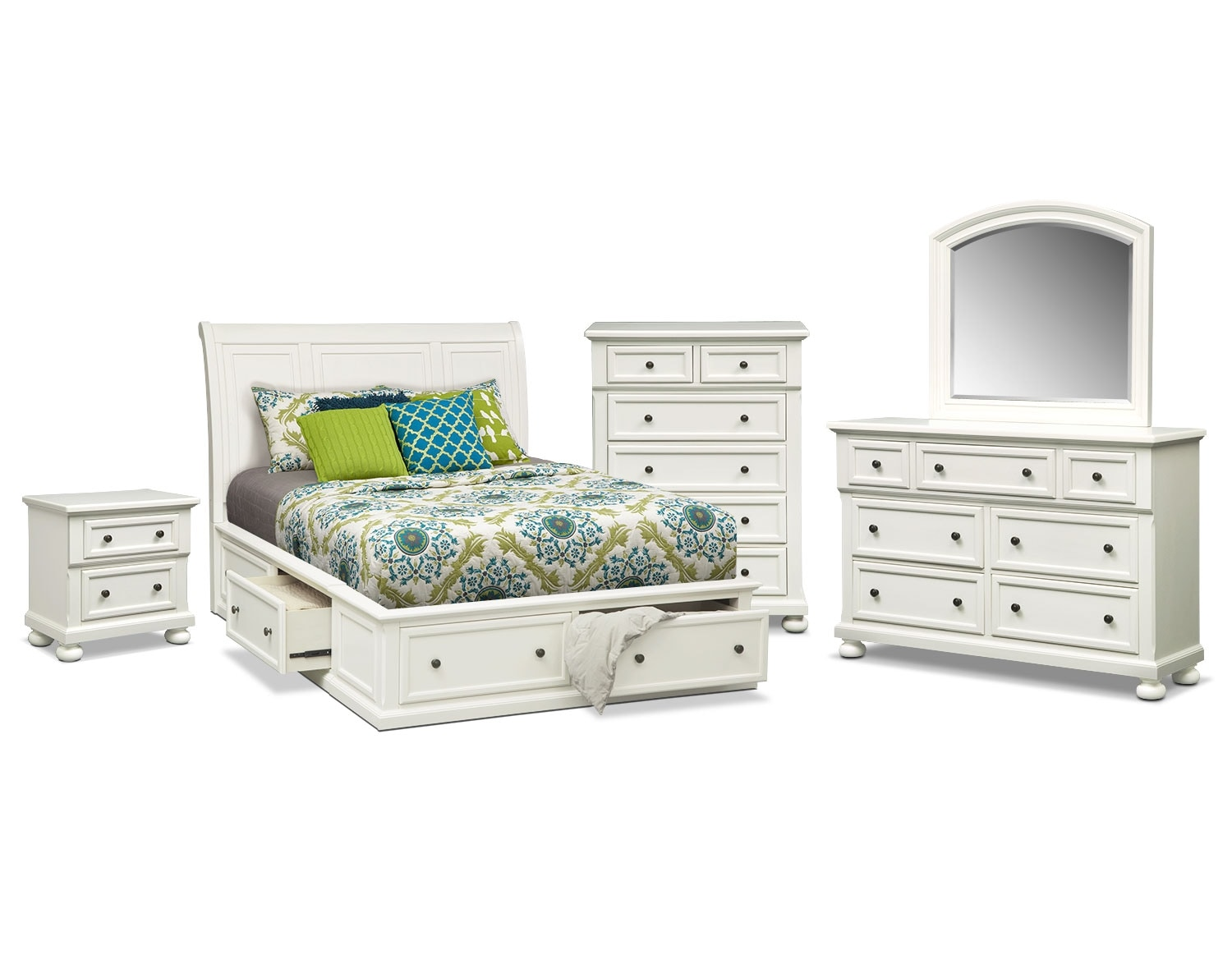 Hanover queen storage bed white value city furniture for White bedroom set with storage