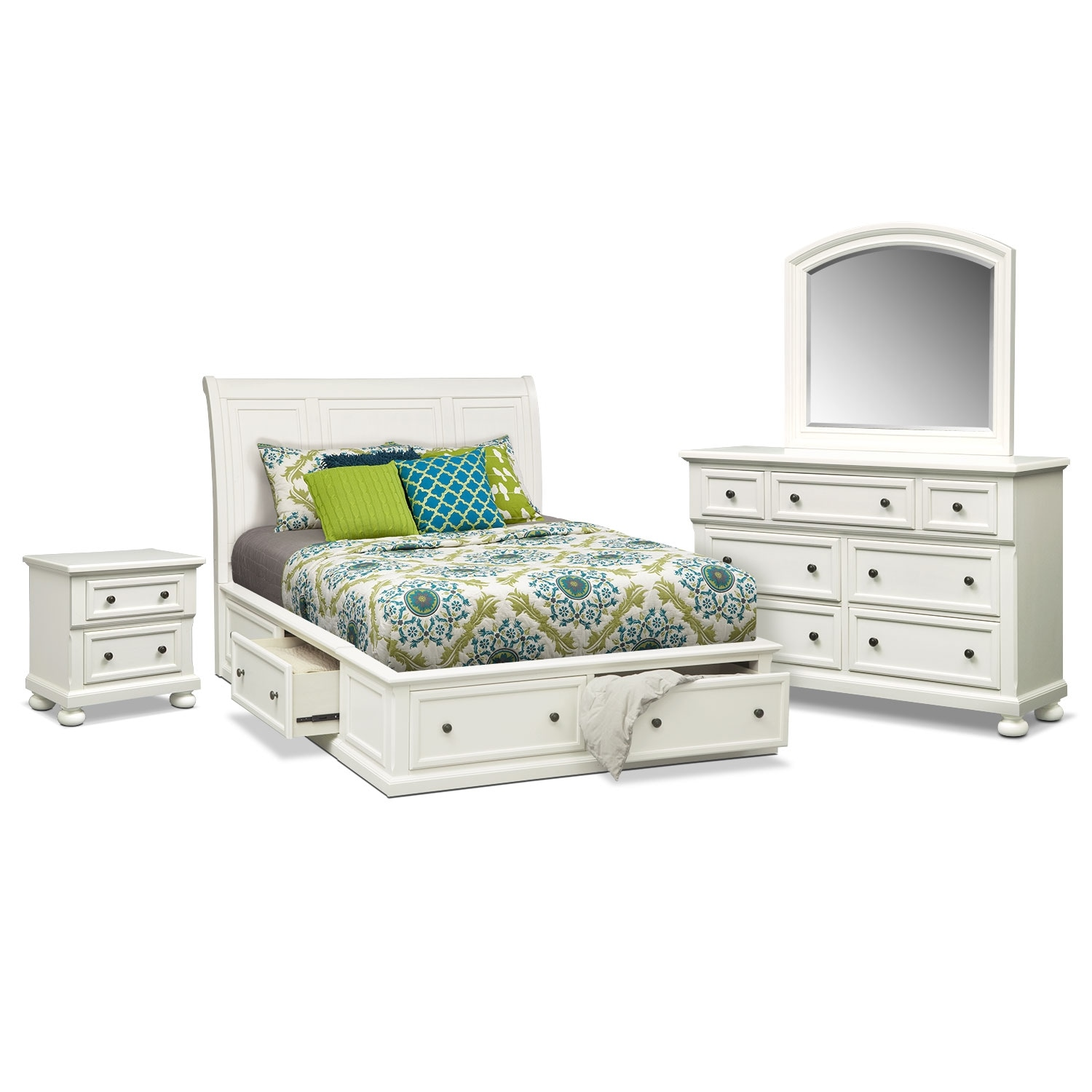 hanover 6 piece queen storage bedroom set white american signature furniture. Black Bedroom Furniture Sets. Home Design Ideas