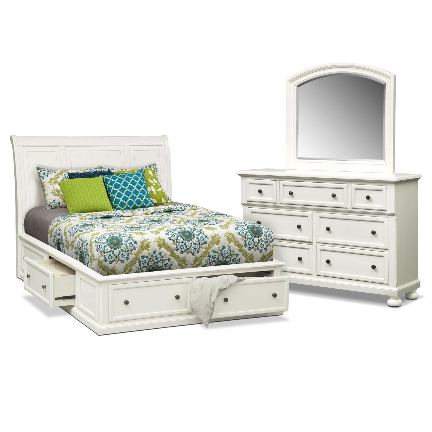 Hanover 5 piece queen storage bedroom set white value for White queen bedroom set