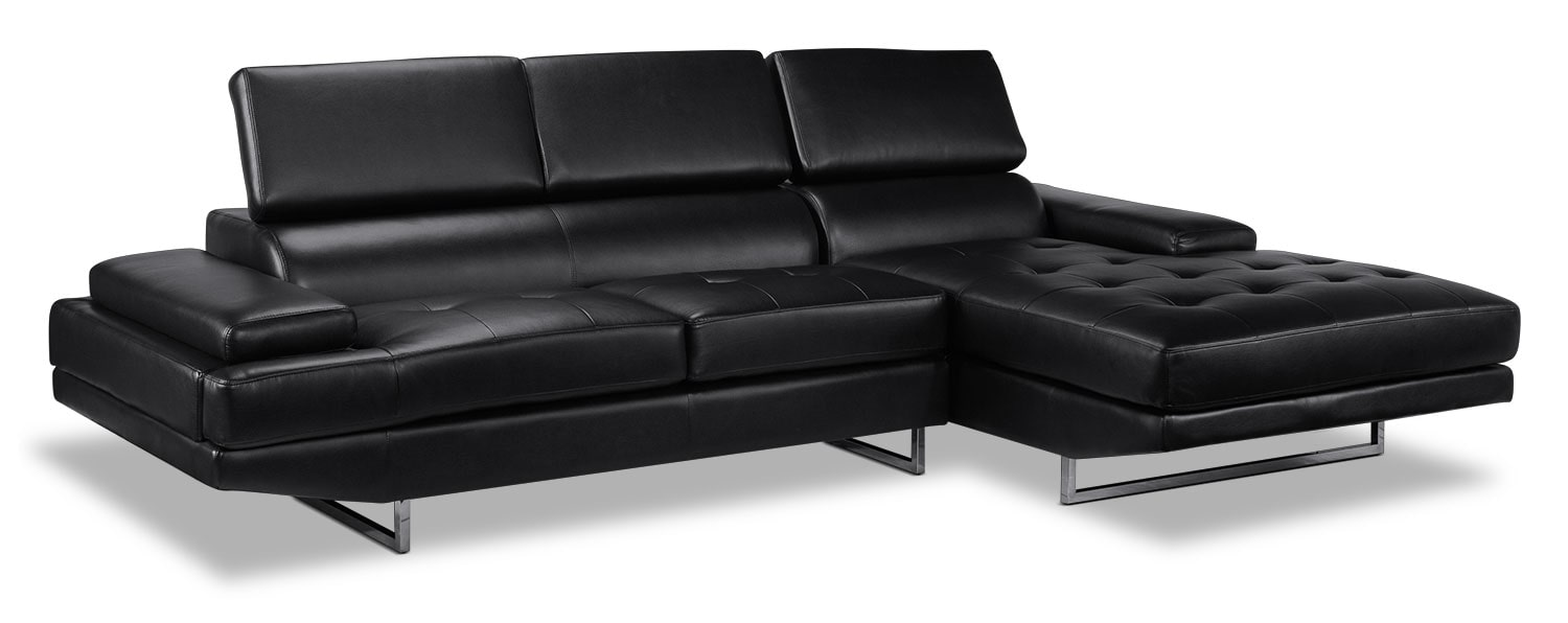 Living Room Furniture - Zamora 2-Piece Sectional - Charcoal