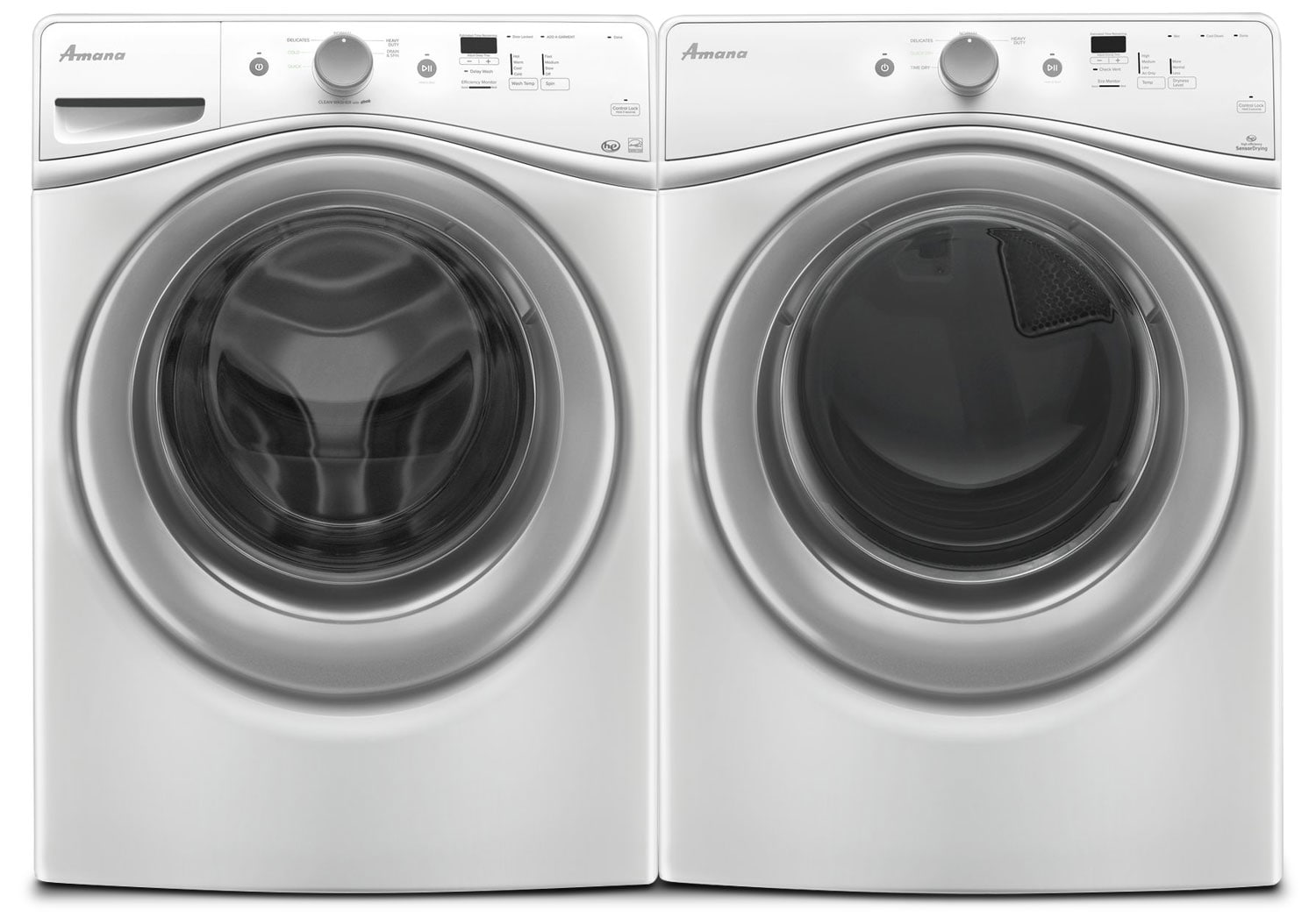 Amana 4.8 Cu. Ft. Front Load Washer and 7.4 Cu. Ft. Gas Dryer - White