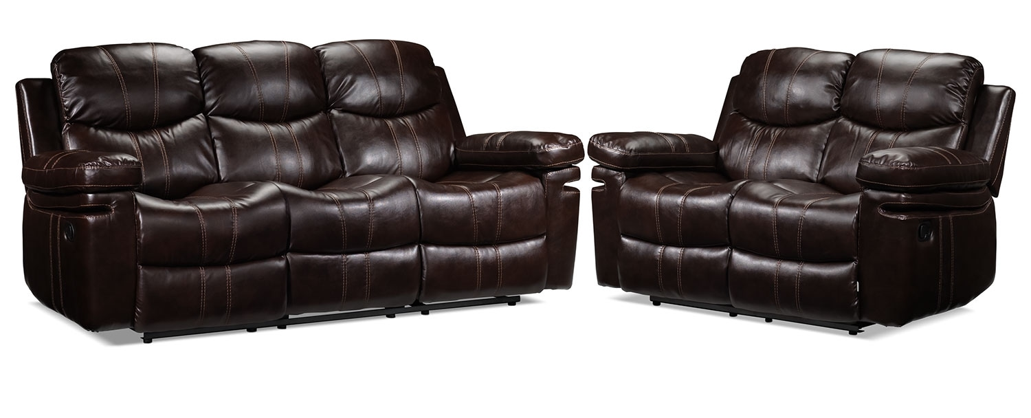 Barcelona Sofa and Loveseat Set - Brown