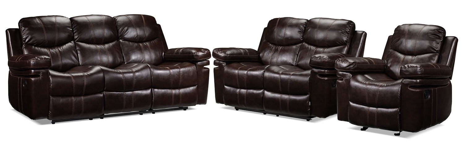 Barcelona Sofa, Loveseat and Chair Set - Brown