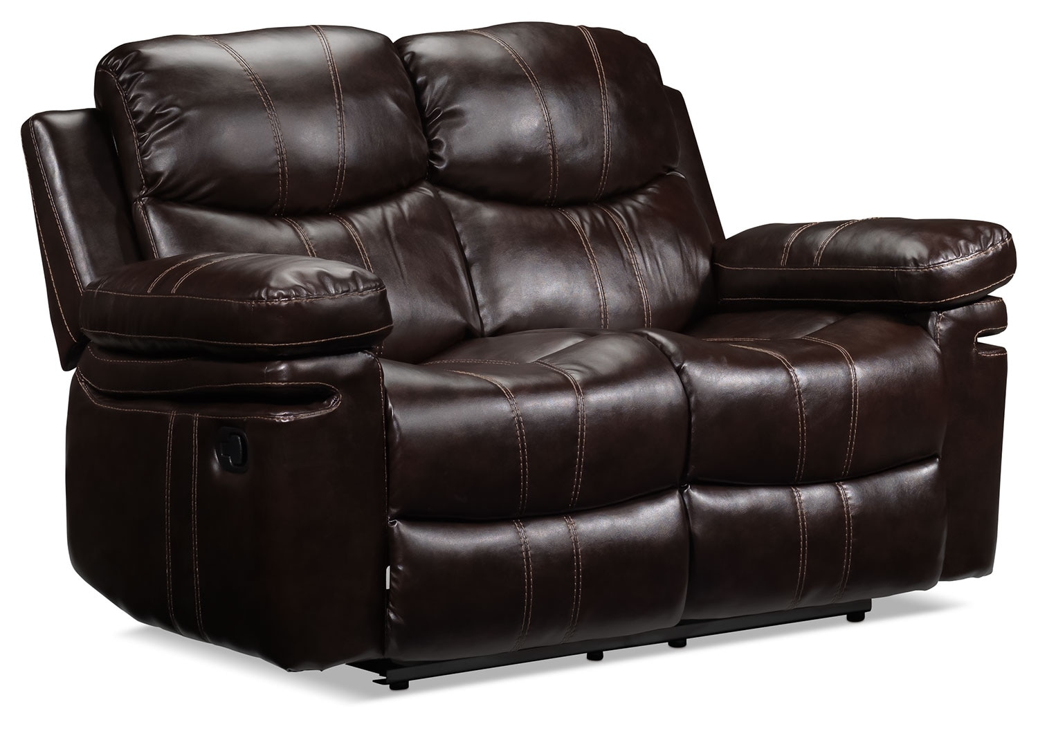 Living Room Furniture - Barcelona Reclining Loveseat - Brown