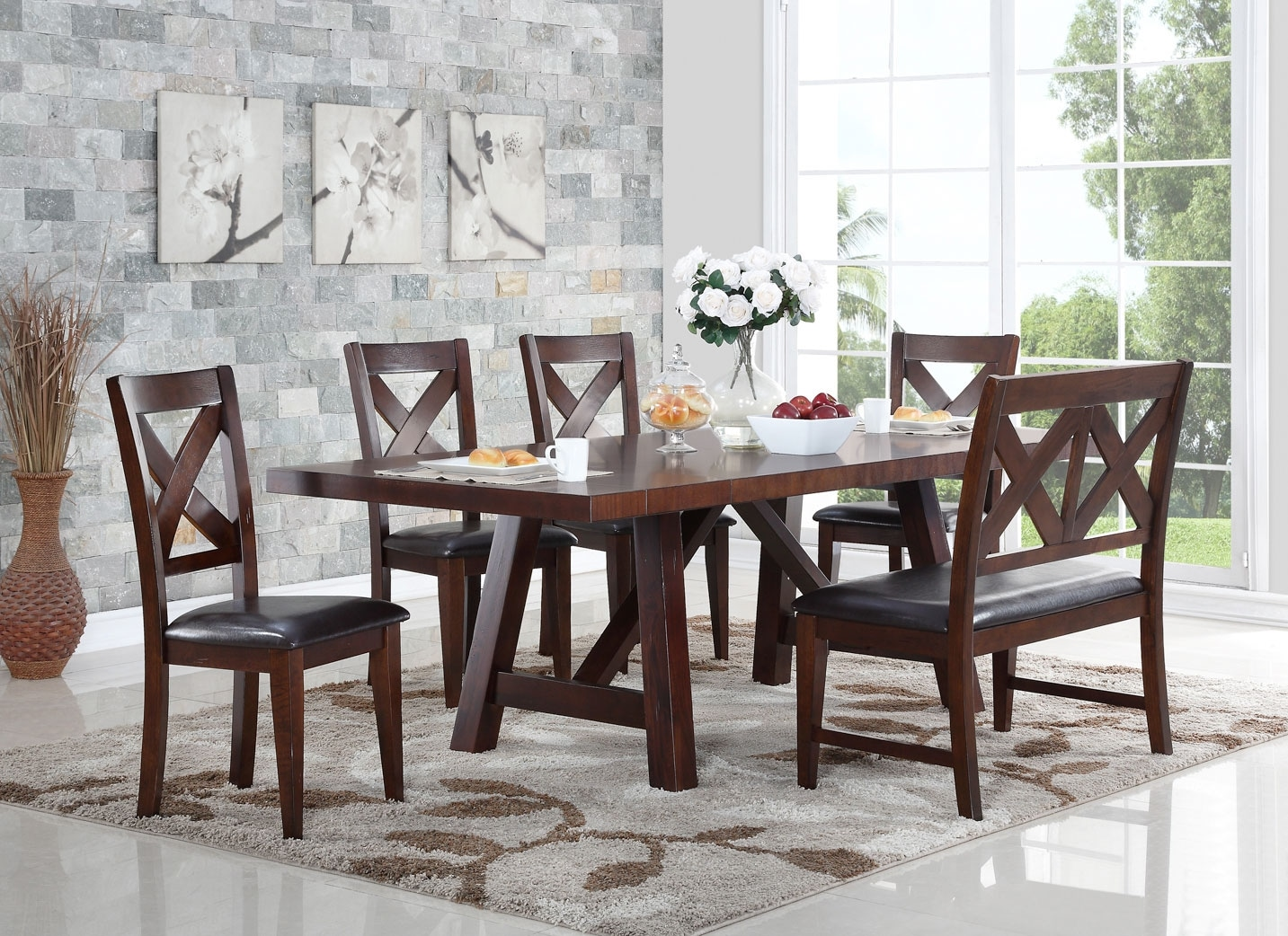 the brick dining room furniture | Adara 6-Piece Dining Package with Cross-Back Chairs | The ...