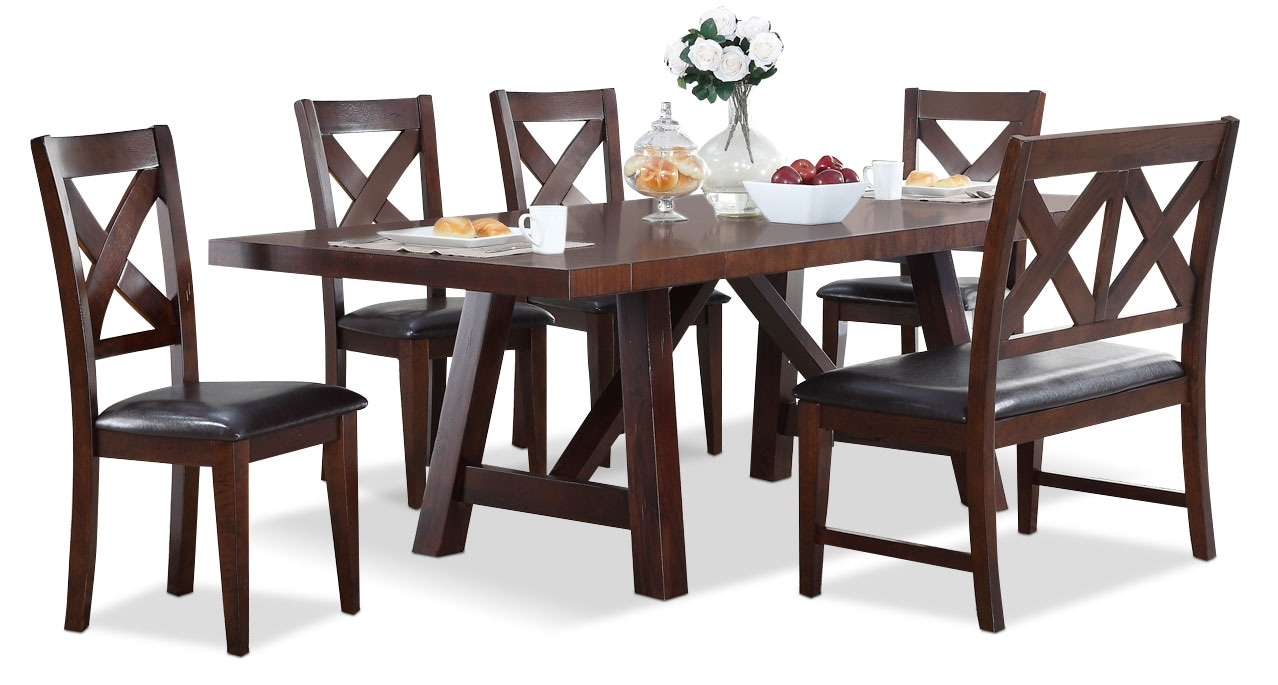 Dining Room Furniture - Adara 6-Piece Dining Package with Cross-Back Chairs