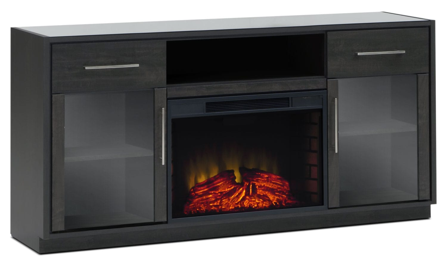 "Entertainment Furniture - Modena 68"" TV Stand with Log Firebox"