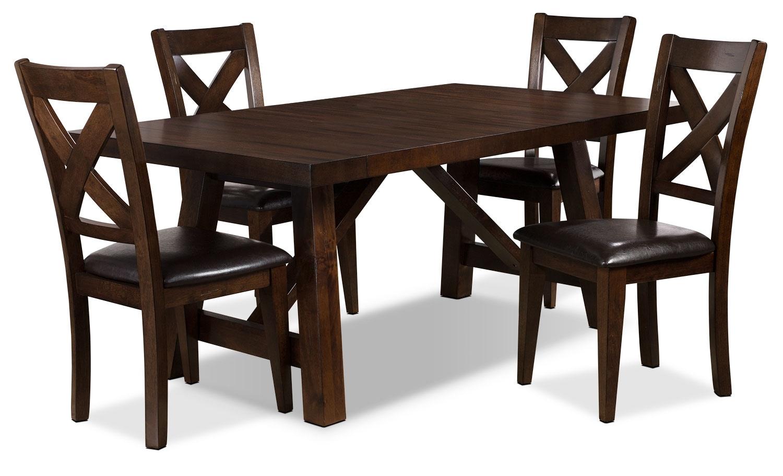 Ensemble de salle à manger Adara 5 pièces avec le motif croisé sur le dossier