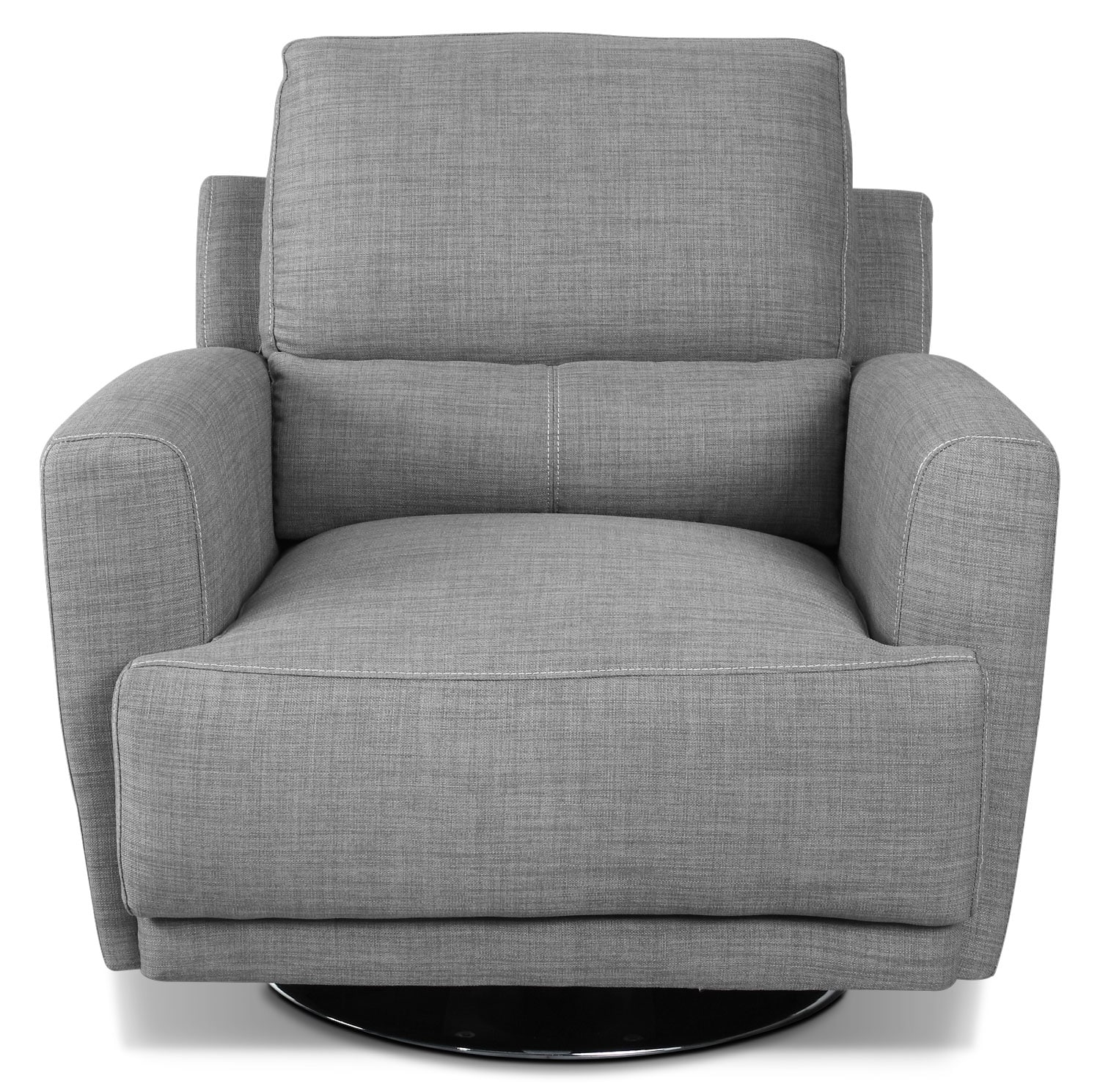 Living Room Furniture - Emilee Fabric Swivel Chair - Ash