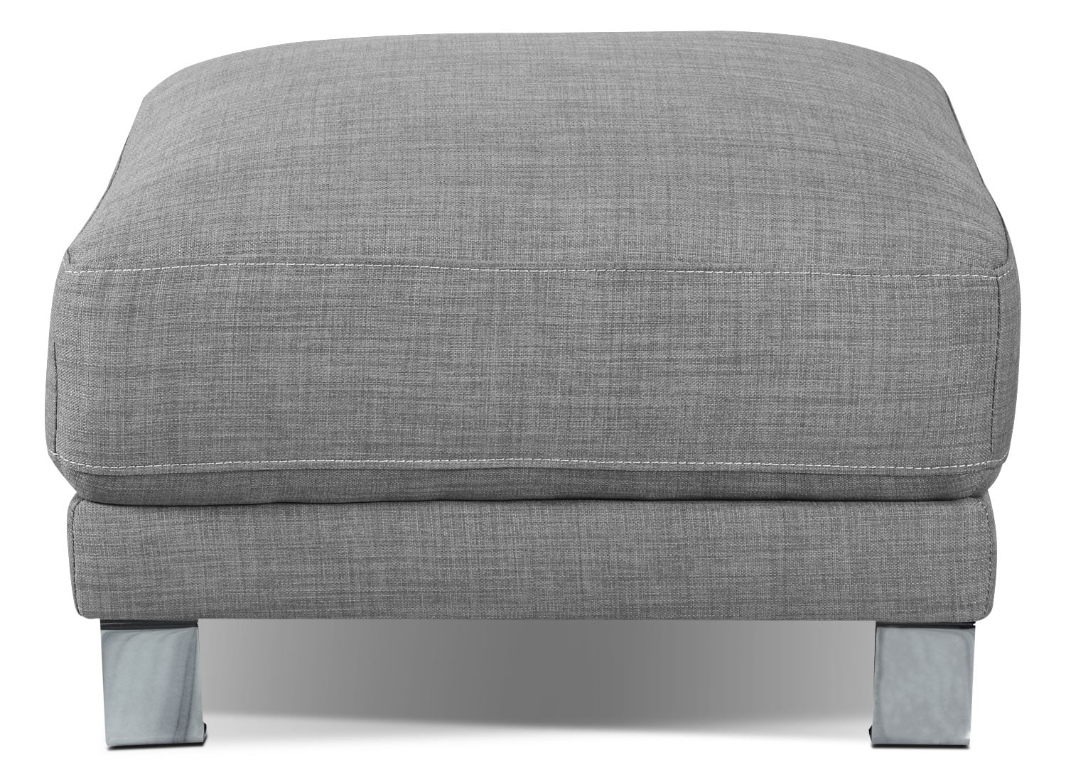 Living Room Furniture - Emilee Fabric Ottoman - Ash