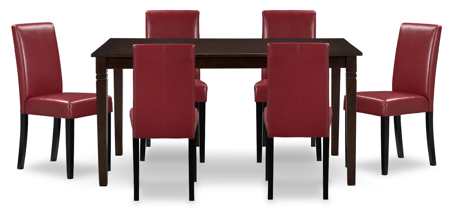 Dining Room Furniture - Aran 7-Piece Dining Package – Red