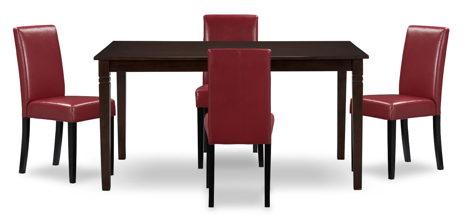 Dining Room Furniture - Aran 5-Piece Dining Package – Red