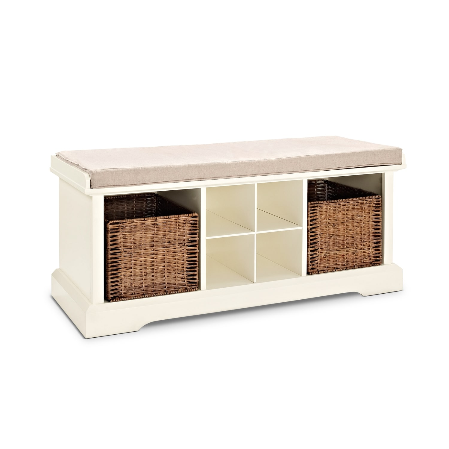 Levi white entryway storage bench value city furniture for Entryway mudroom bench