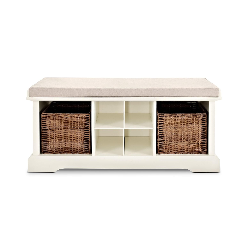 levi white entryway storage bench value city furniture. Black Bedroom Furniture Sets. Home Design Ideas