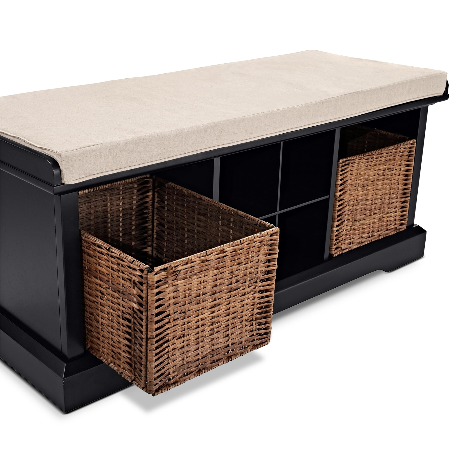 Levi Black Entryway Storage Bench Value City Furniture