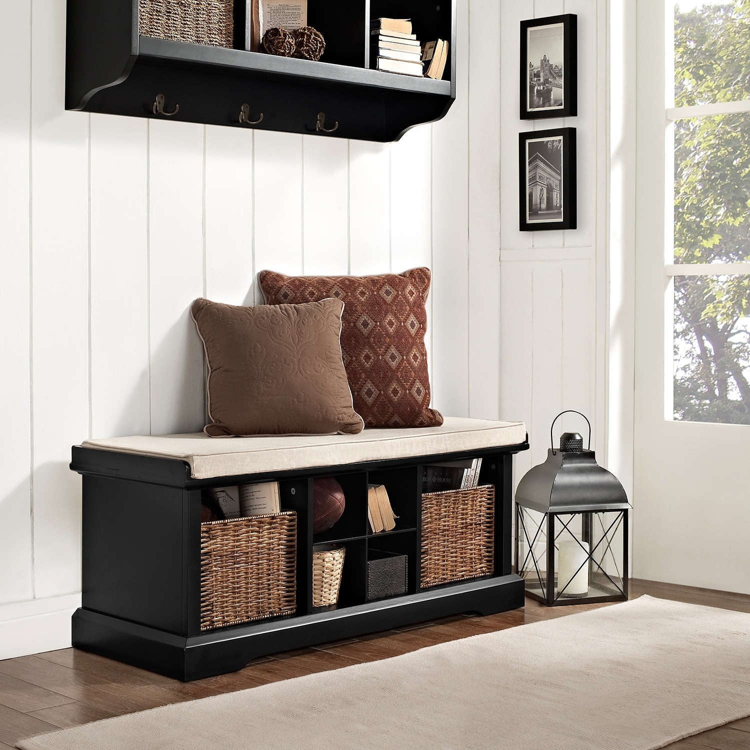 Levi Black Entryway Storage Bench American Signature Furniture