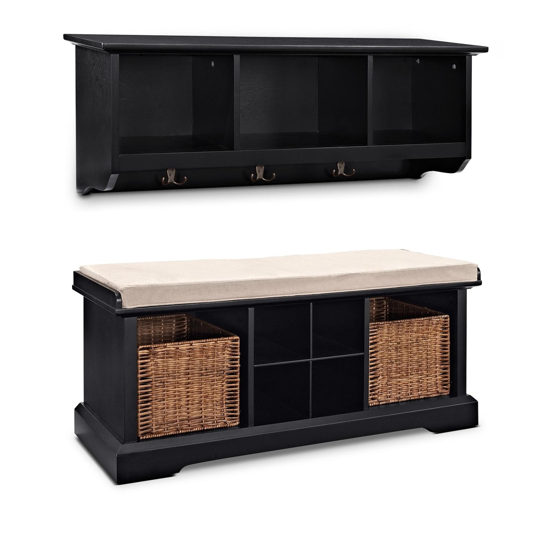 Levi 2 Pc Black Entryway System Value City Furniture