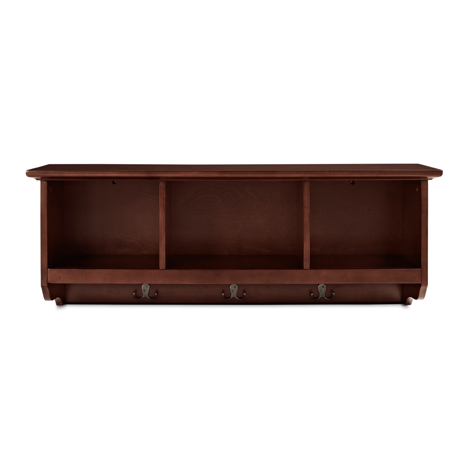 Levi mahogany entryway storage shelf american signature for Entryway furniture