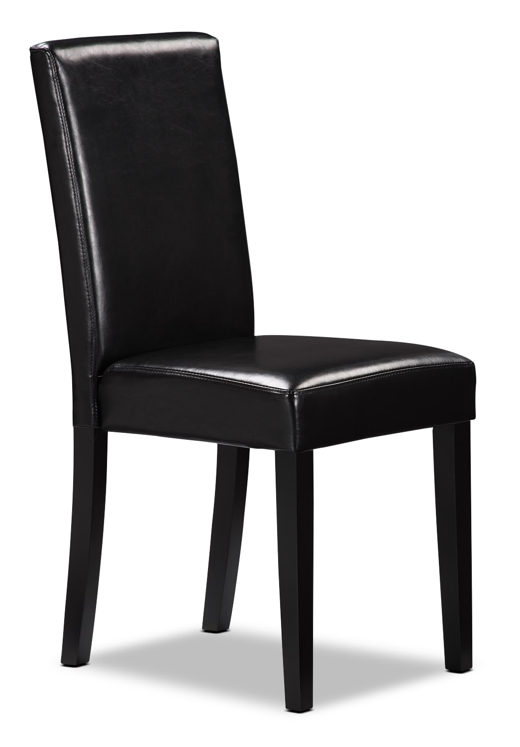 Black faux leather accent dining chair united furniture for Black leather dining chairs