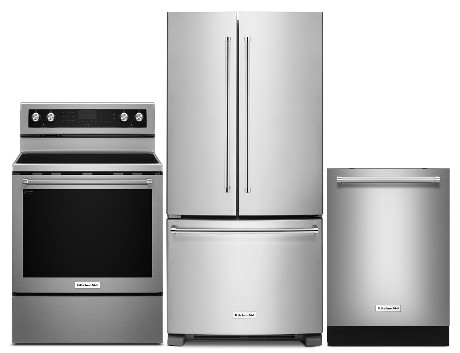 """Cooking Products - KitchenAid 22.1 Cu. Ft. Refrigerator, 6.4 Cu. Ft. Range and 24"""" Dishwasher - Stainless Steel"""