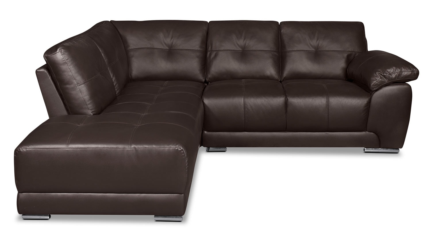 Rylee 2-Piece Genuine Leather Left-Facing Sectional - Brown