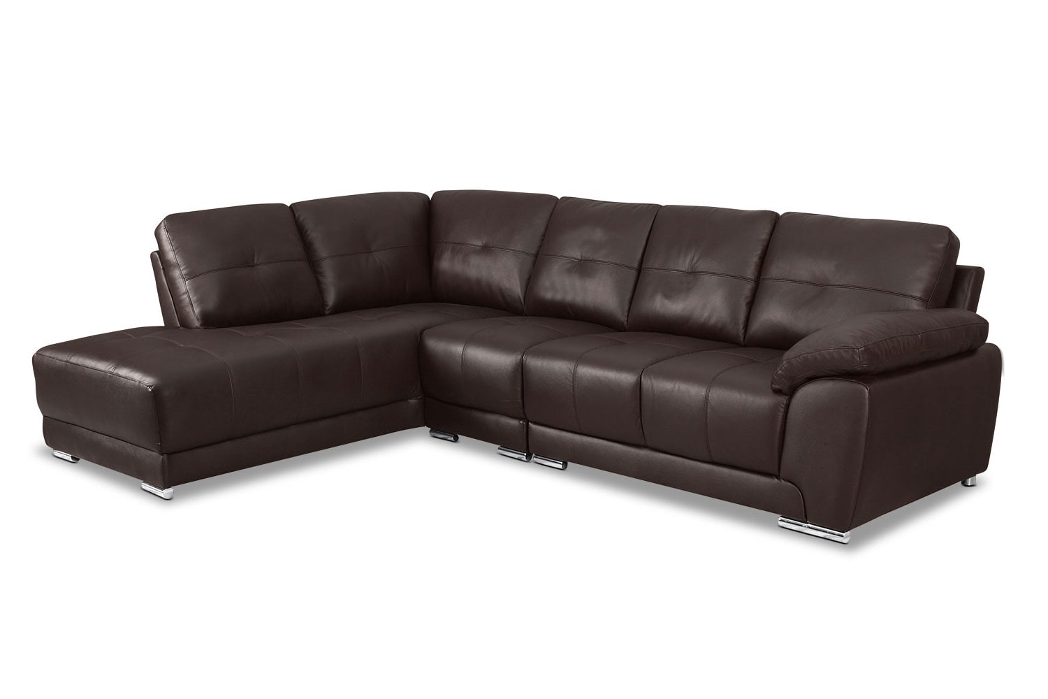 Rylee 3 Piece Genuine Leather Left Facing Sectional