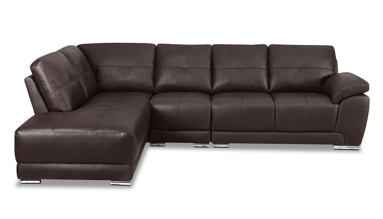 Living Room Furniture - Rylee 3-Piece Genuine Leather Left-Facing Sectional - Brown