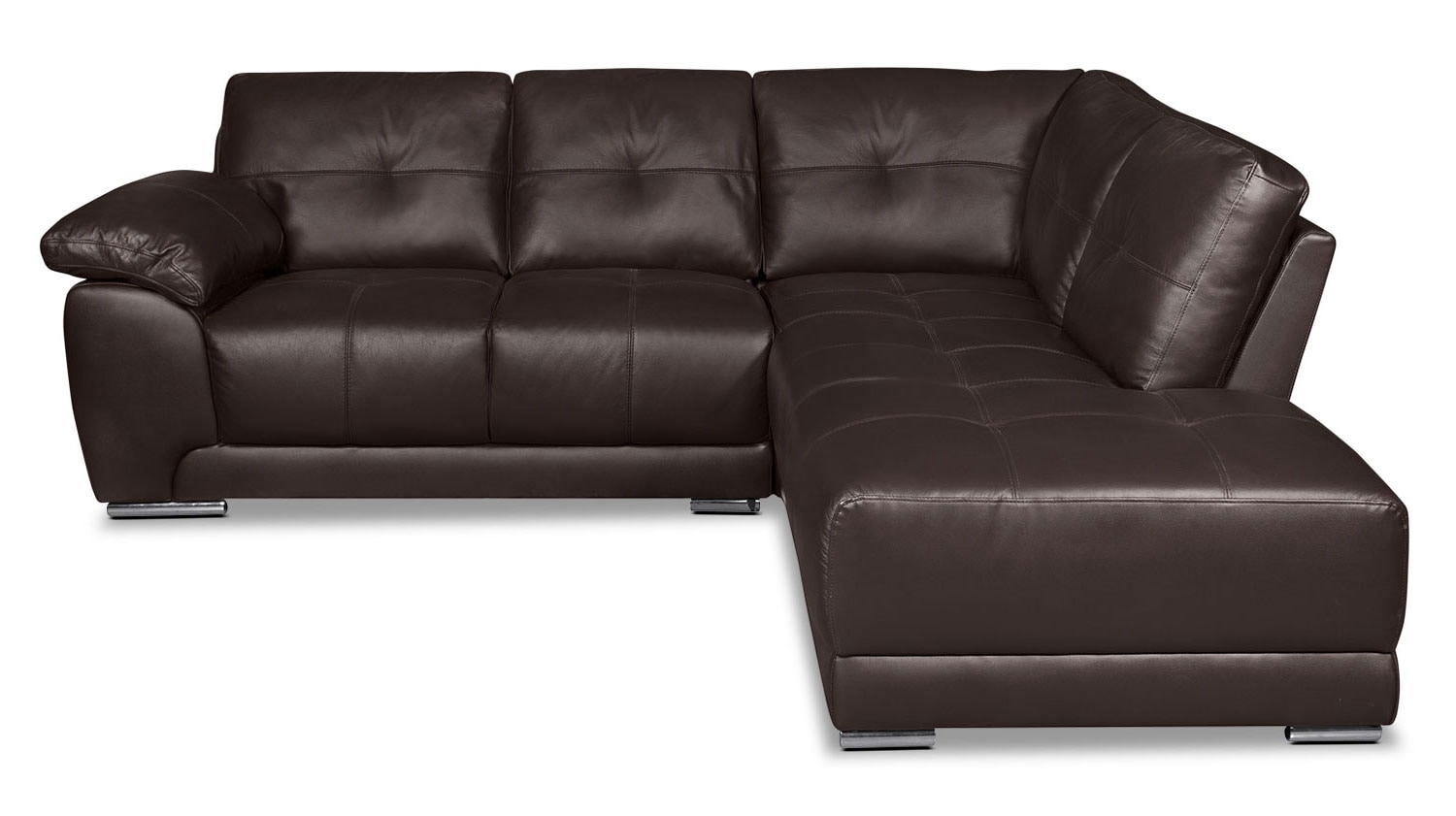 Living Room Furniture - Rylee 2-Piece Genuine Leather Right-Facing Sectional - Brown