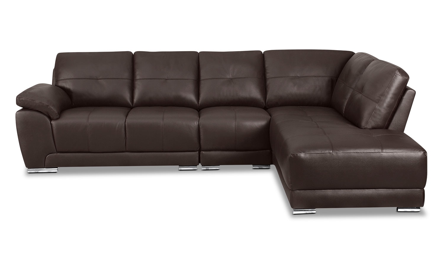 Living Room Furniture - Rylee 3-Piece Genuine Leather Right-Facing Sectional - Brown
