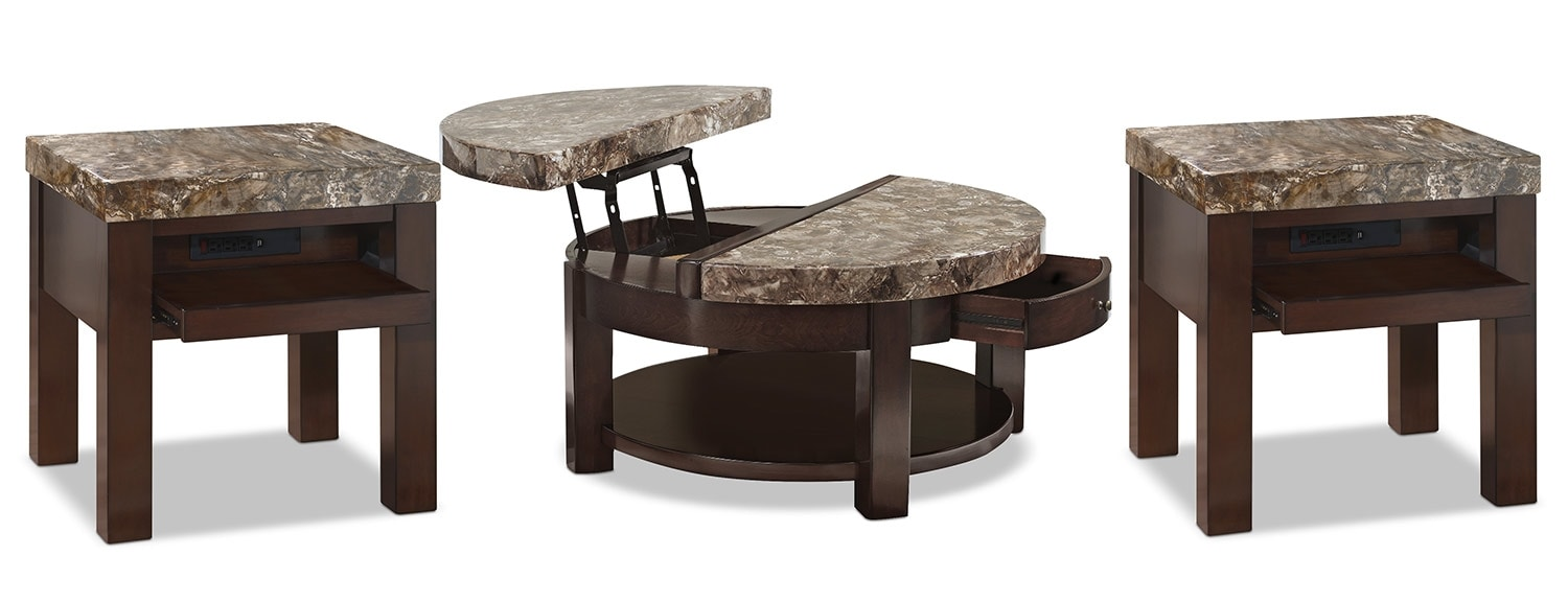 Accent and Occasional Furniture - Emerson 3-Piece Coffee and Two End Tables Package