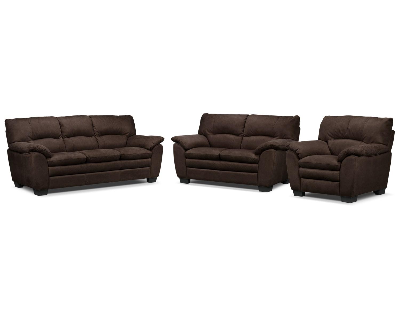 Kelleher Sofa, Loveseat and Chair Set - Walnut
